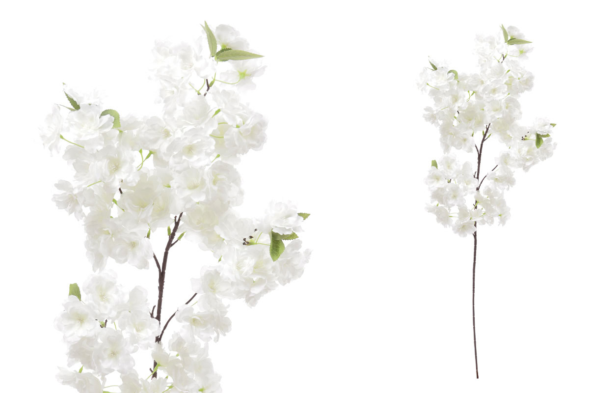 Květina umělá. Třešňové květy, barva bílá