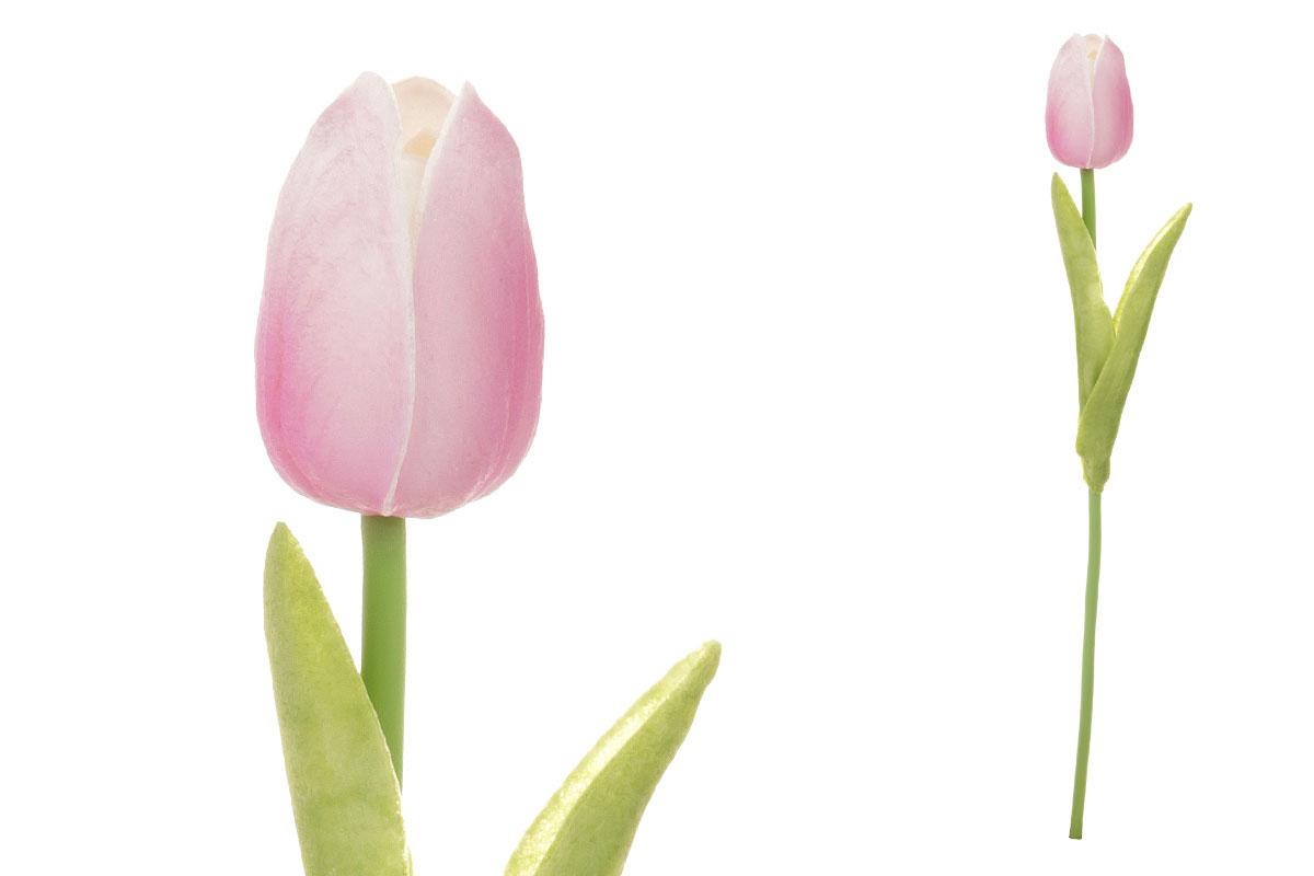 Umelý kvet penový, tulipán mini, farba ružovo-biela