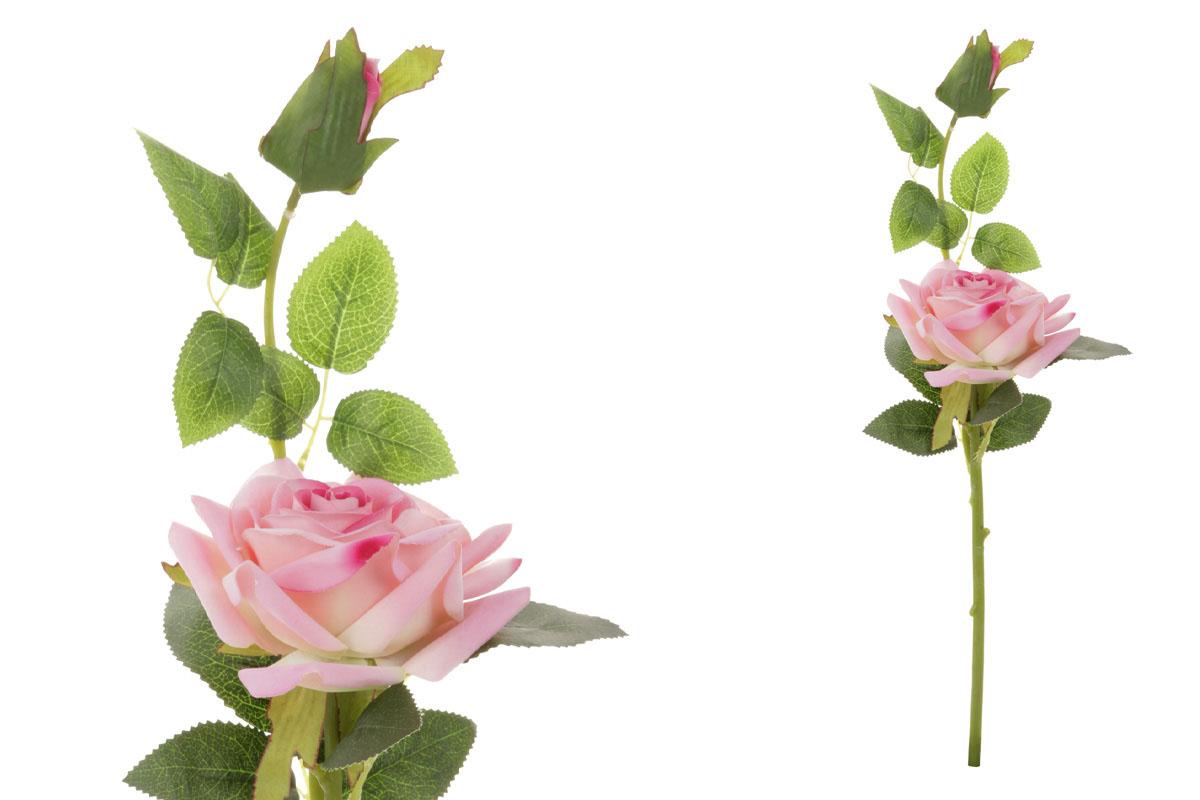 Květina umělá. Růže s poupětem, barva růžová