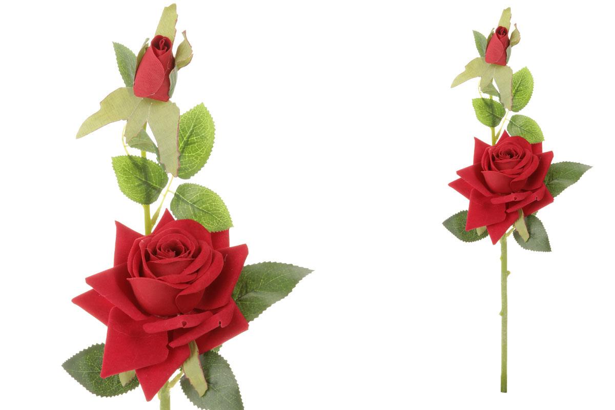 Květina umělá. Růže s poupětem, barva červená
