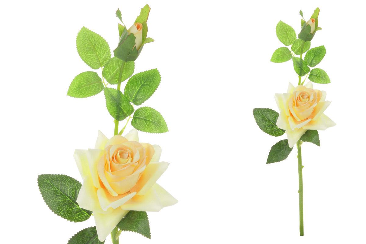 Květina umělá. Růže s poupětem, barva žlutá