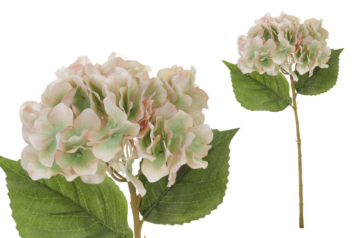 Květina umělá. Hortenzie, barva růžovo-zelená