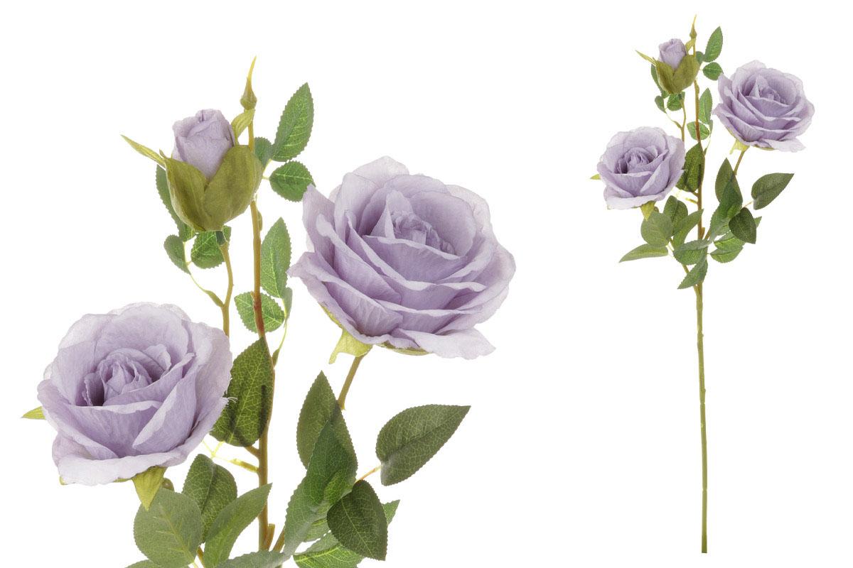 Květina umělá. Růže, dva květy s poupětem, barva lila