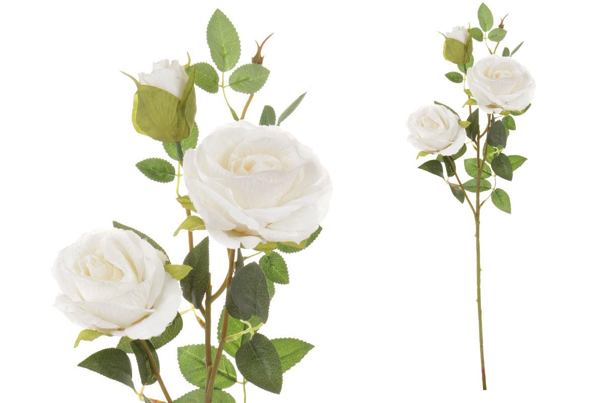Umelý kvet, ruža, dva kvety s púčikom, farba biela