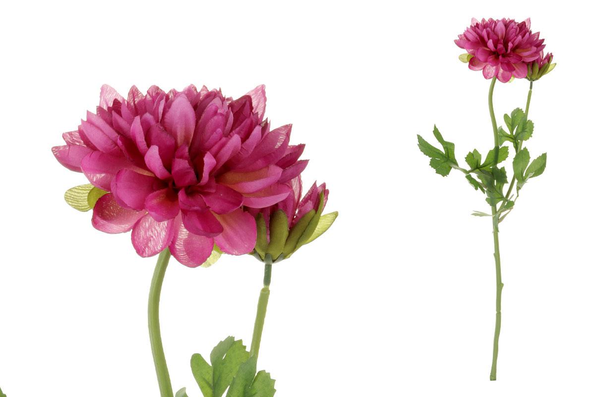 Květina umělá. Jiřinka s poupětem, barva bordó