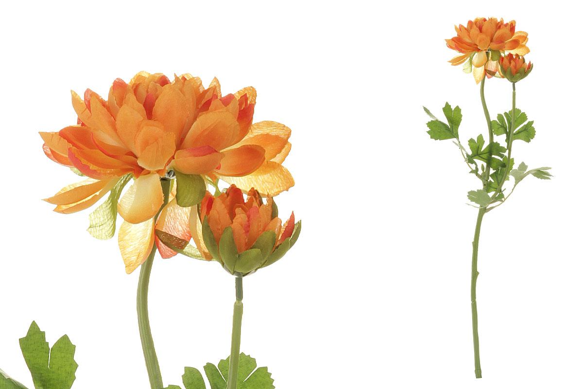 Květina umělá. Jiřinka s poupětem, barva oranžová