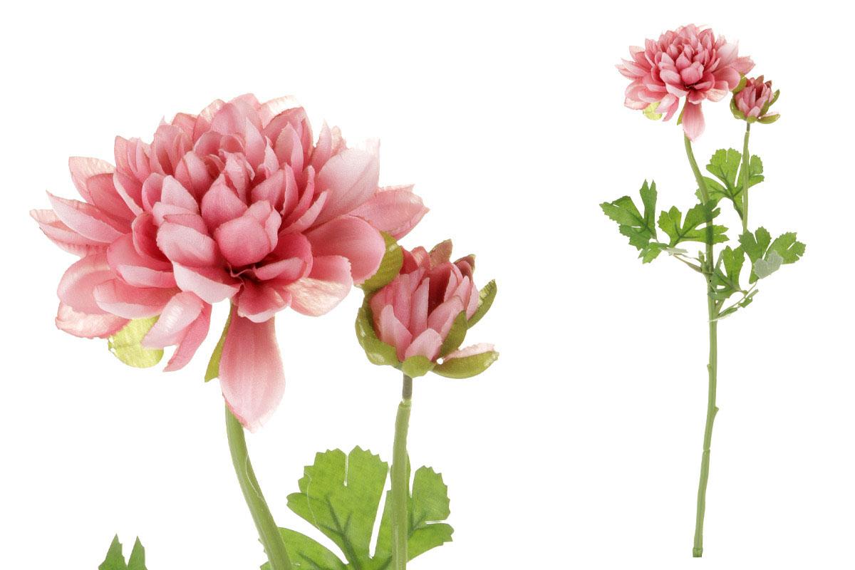 Květina umělá. Jiřinka s poupětem, barva růžová tmavá