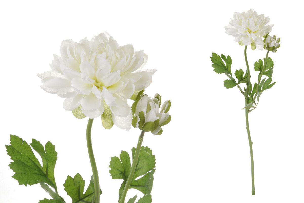 Květina umělá. Jiřinka s poupětem, barva bílá