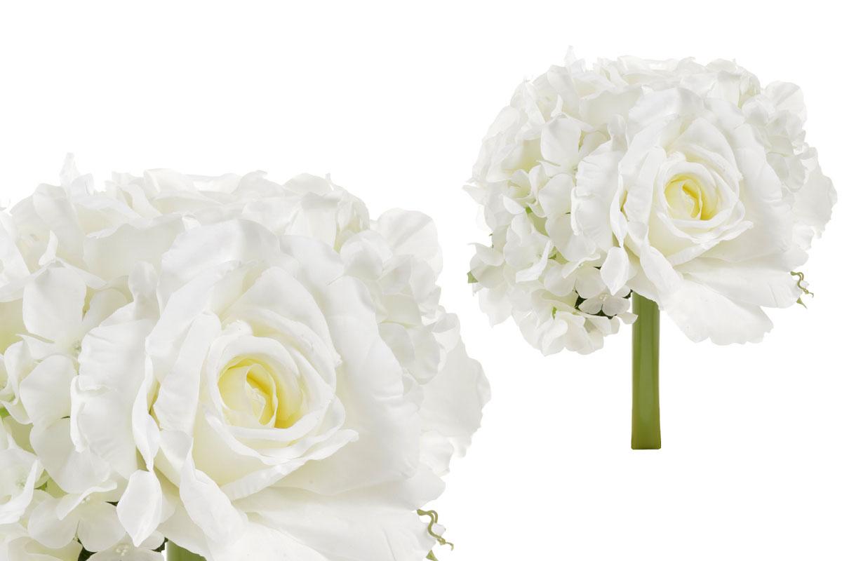 Hortenzie a růže, puget,  barva smetanová. Květina umělá.