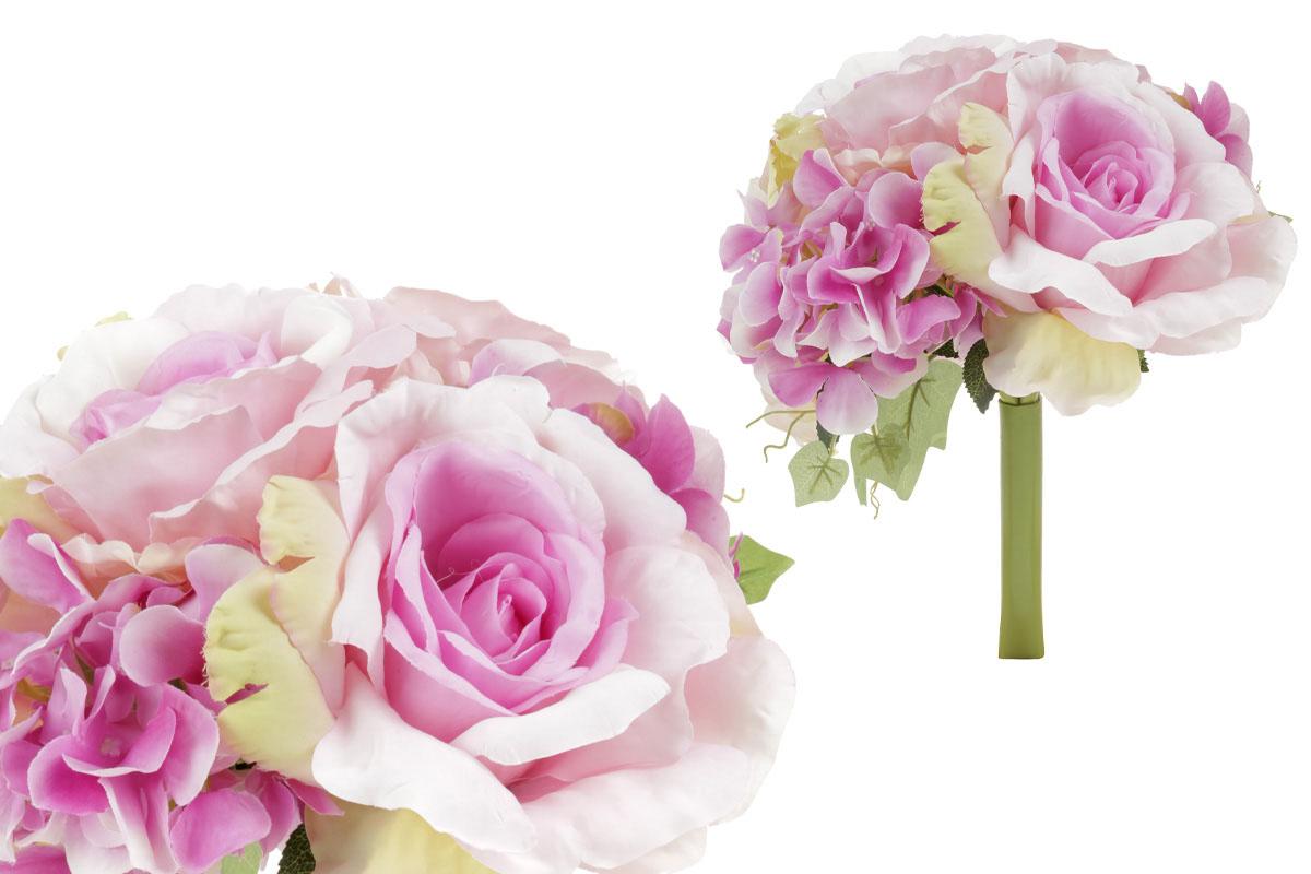 Hortenzia a ruža, kytica, farba lila