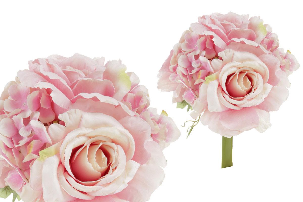 Hortenzia a ruža, kytica, farba ružová