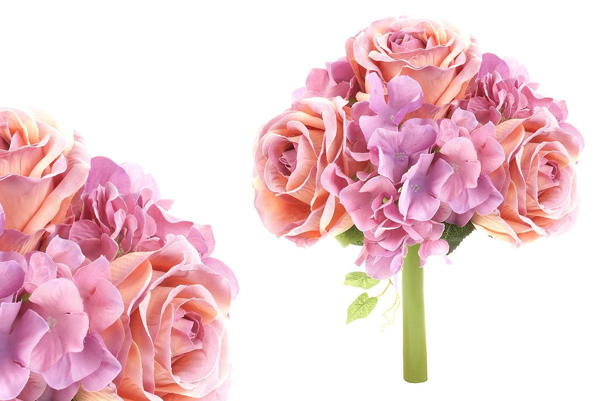 Hortenzie a růže, puget, mix  barev - lila a růžová. Květina umělá.