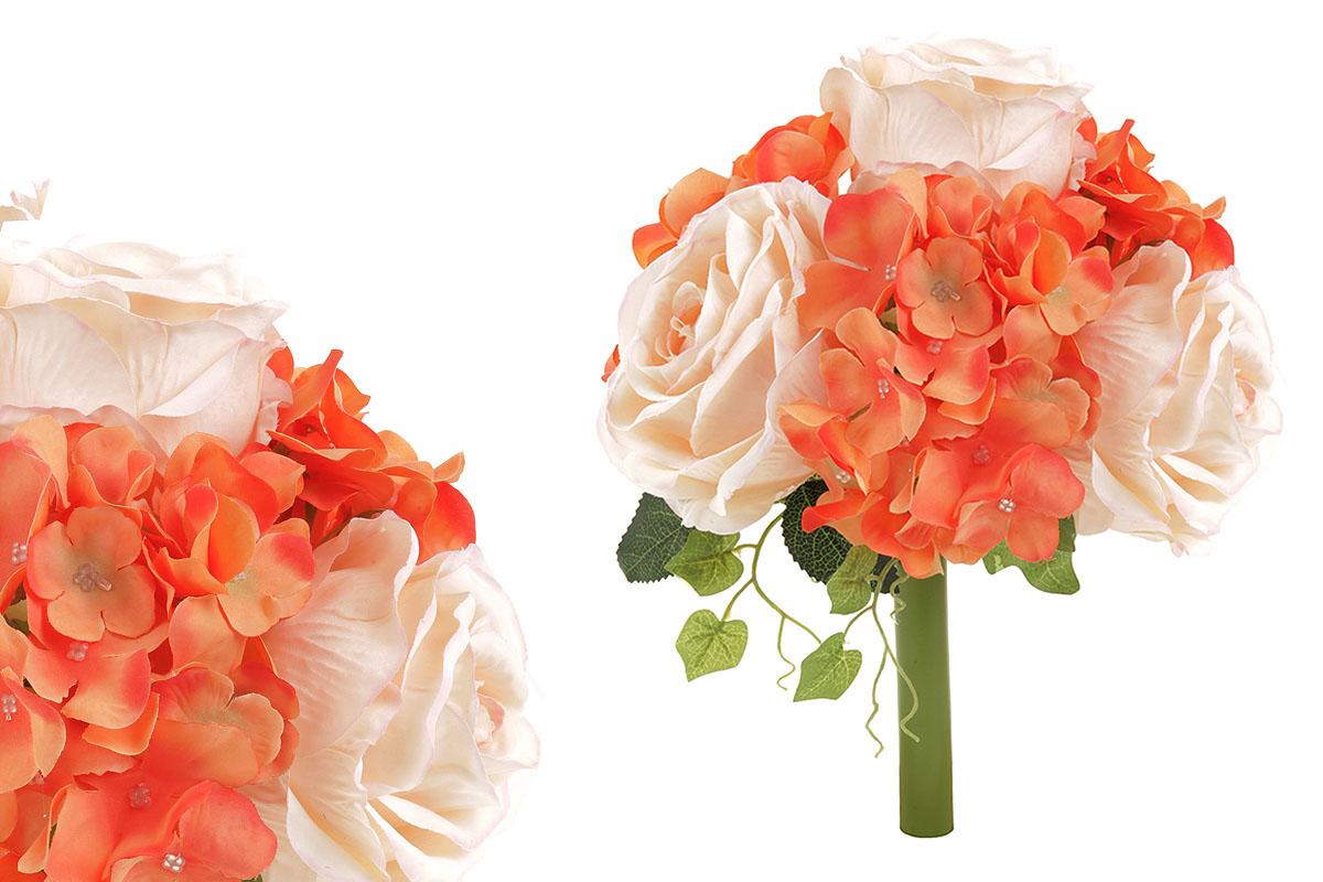 Hortenzie a růže, puget, mix  barev - oranžová a smetanová. Květina umělá.