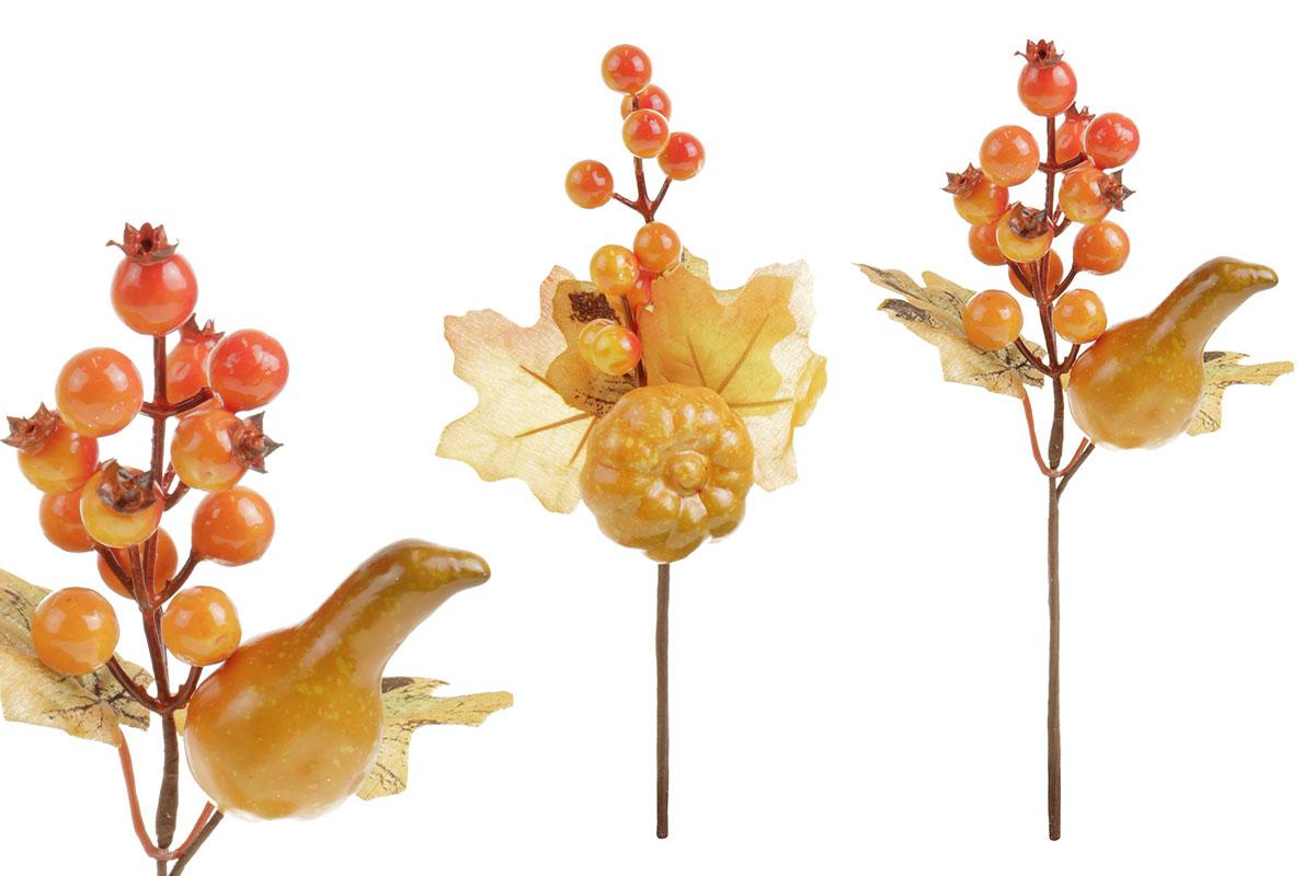 Větvička podzimní s jeřabinou a dýní, umělá dekorace, mix 2 druhů, cena za 1 kus