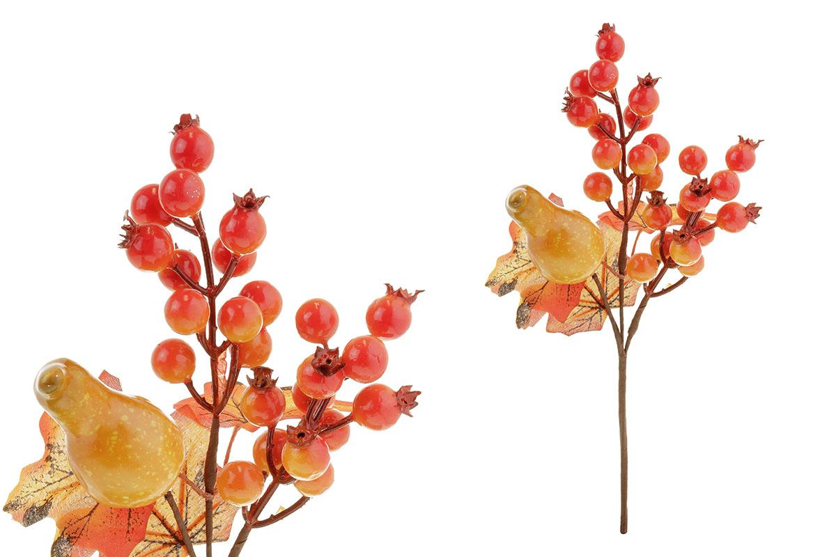 Větvička podzimní s jeřabinou a dýní, umělá dekorace