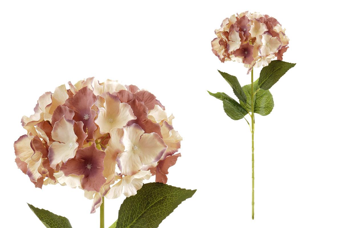 Hortenzie, barva hnědo-béžová.  Květina umělá.