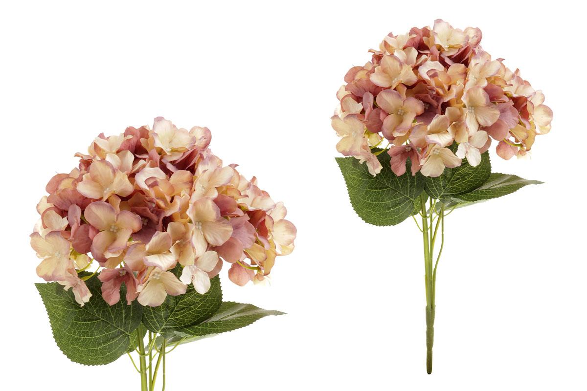 Hortenzie, puget 5 hlav, barva hnědo-béžová. Květina umělá.