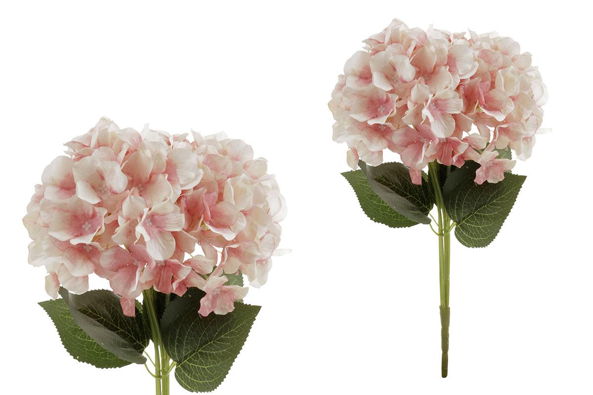 Hortenzie, puget 5 hlav, barva růžovo-smetanová. Květina umělá.