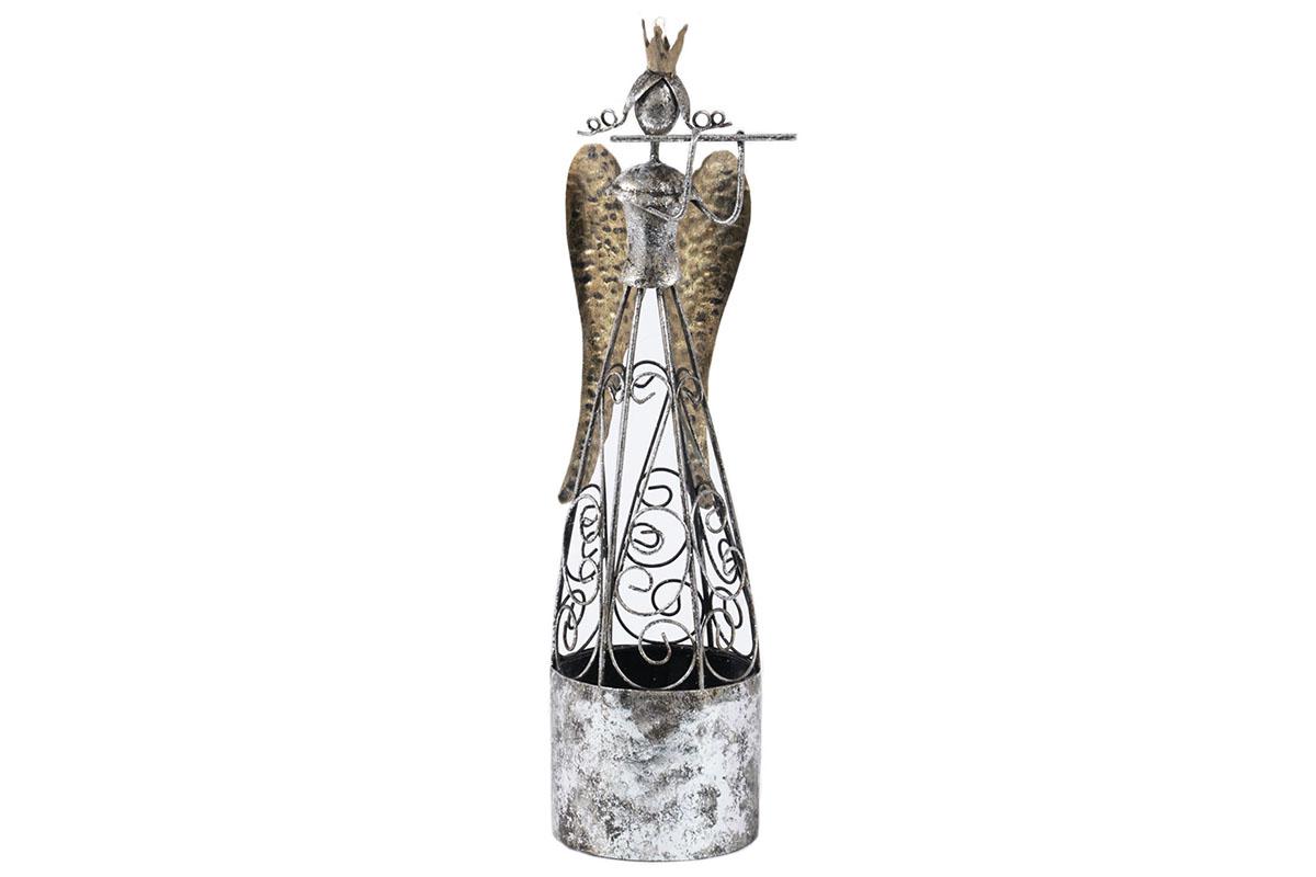 Anjel s fautou, kovová dekorácia
