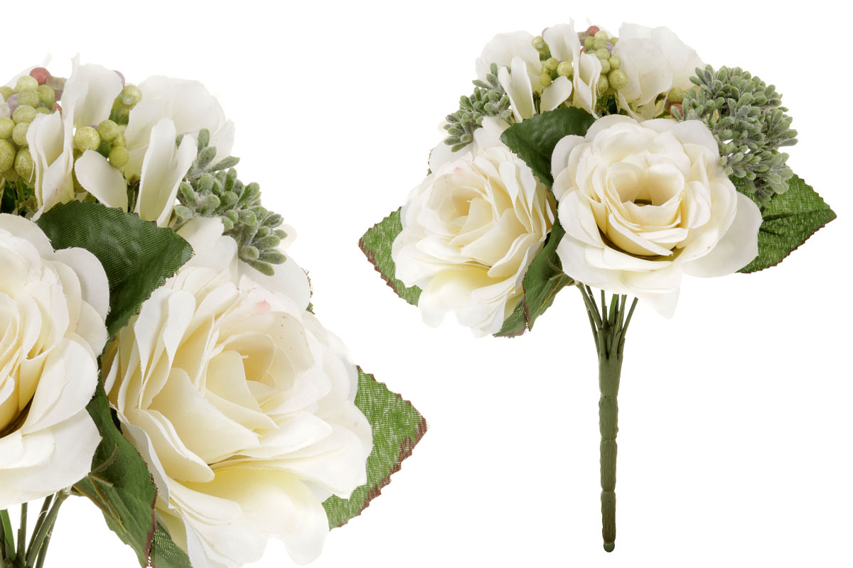 Umělá květina, puget růžiček v bílo-krémové barvě