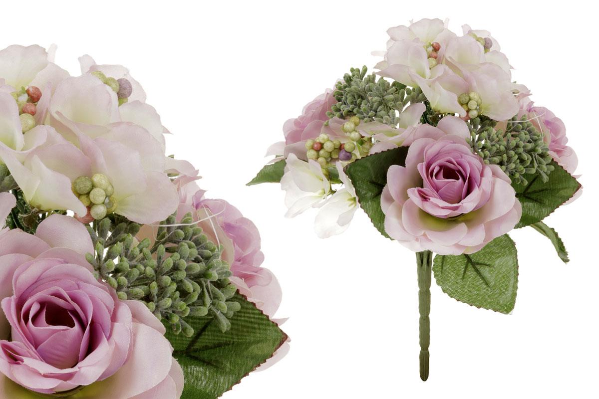 Umělá květina, puget růžiček v bílo-fialové barvě