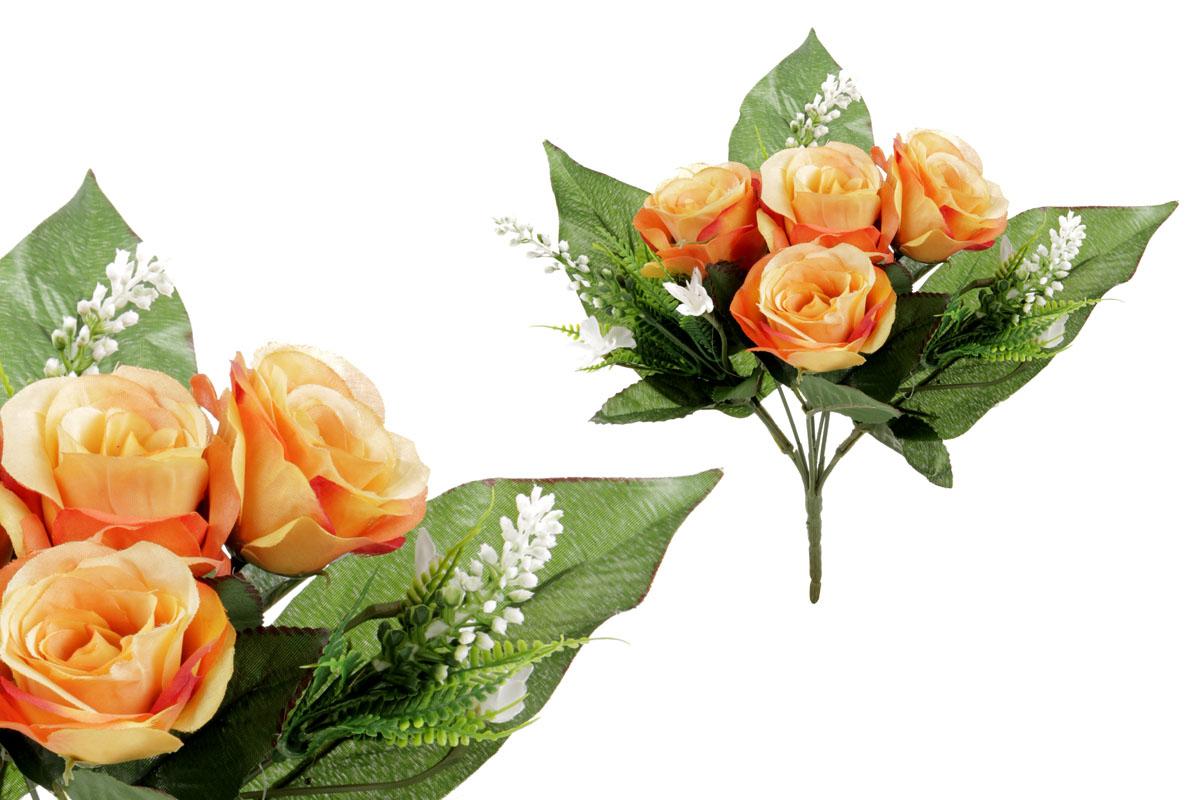 Umělá květina, puget růžiček, barva oranžová