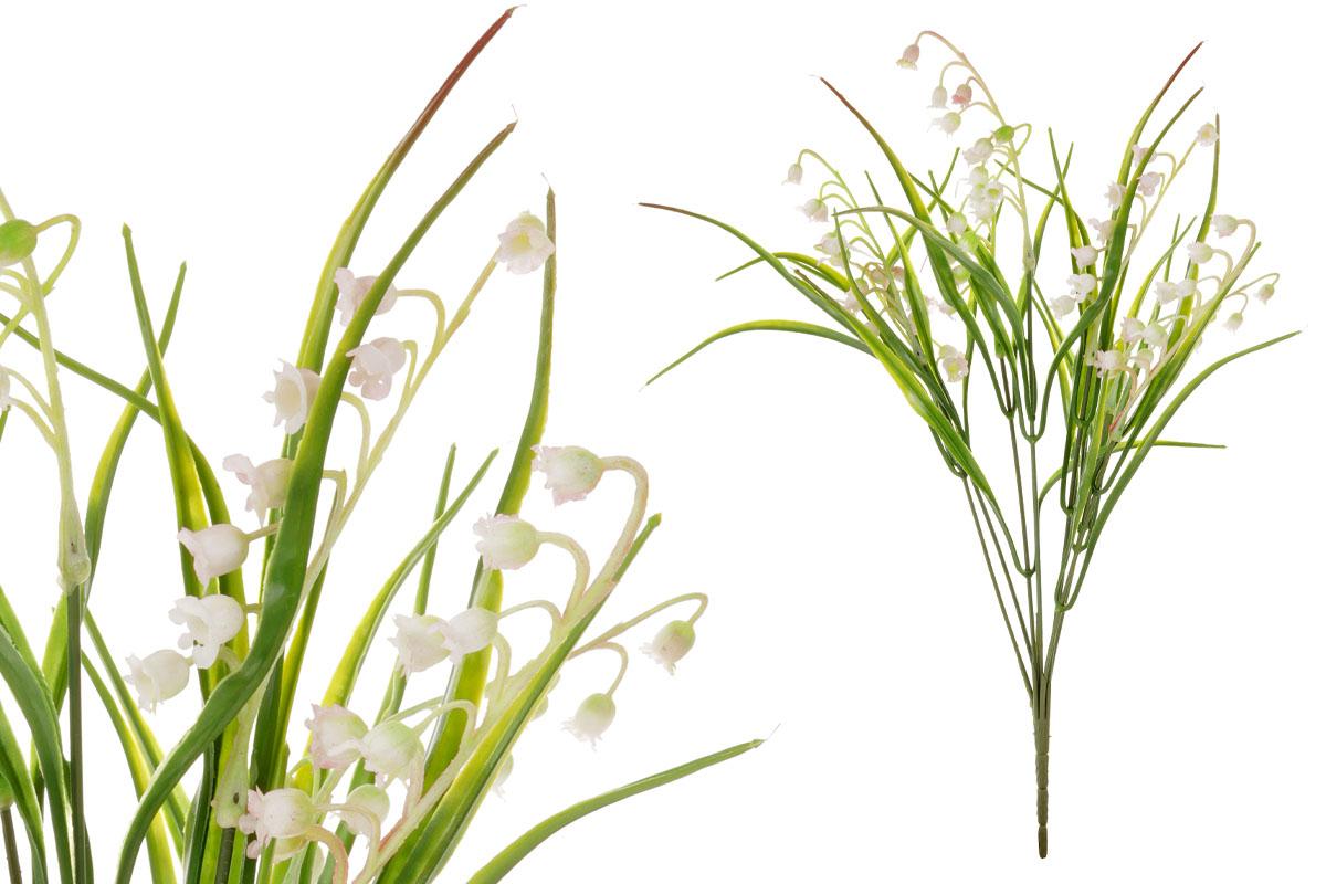 Umělá květina, puget konvalinek, barva bílá s lila