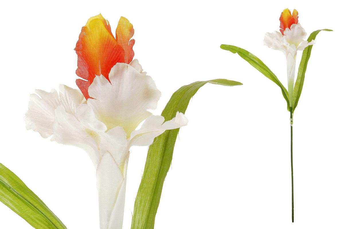 Umělá květina, iris, barva bílo-oranžová
