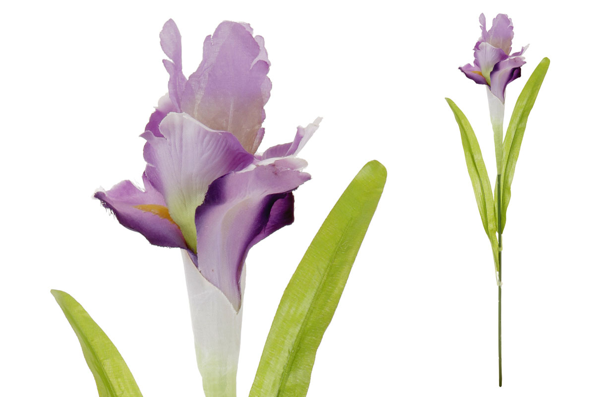 Umělá květina, iris, barva bílo-fialová