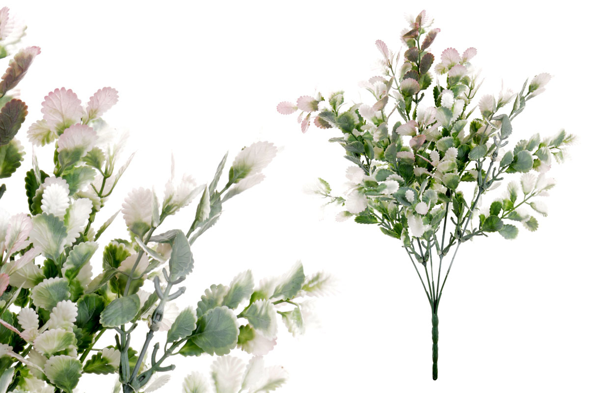 Umělá květina, barva bílá s lila