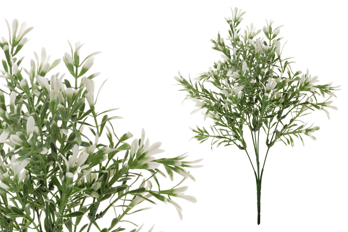Umělá květina,  buxus barva zeleno-bílá
