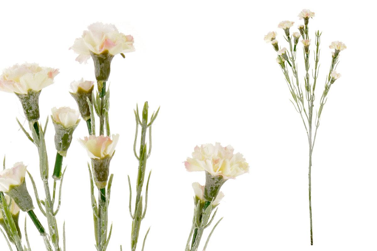 Umělá květina, mini karafiát, barva růžovo-bílá