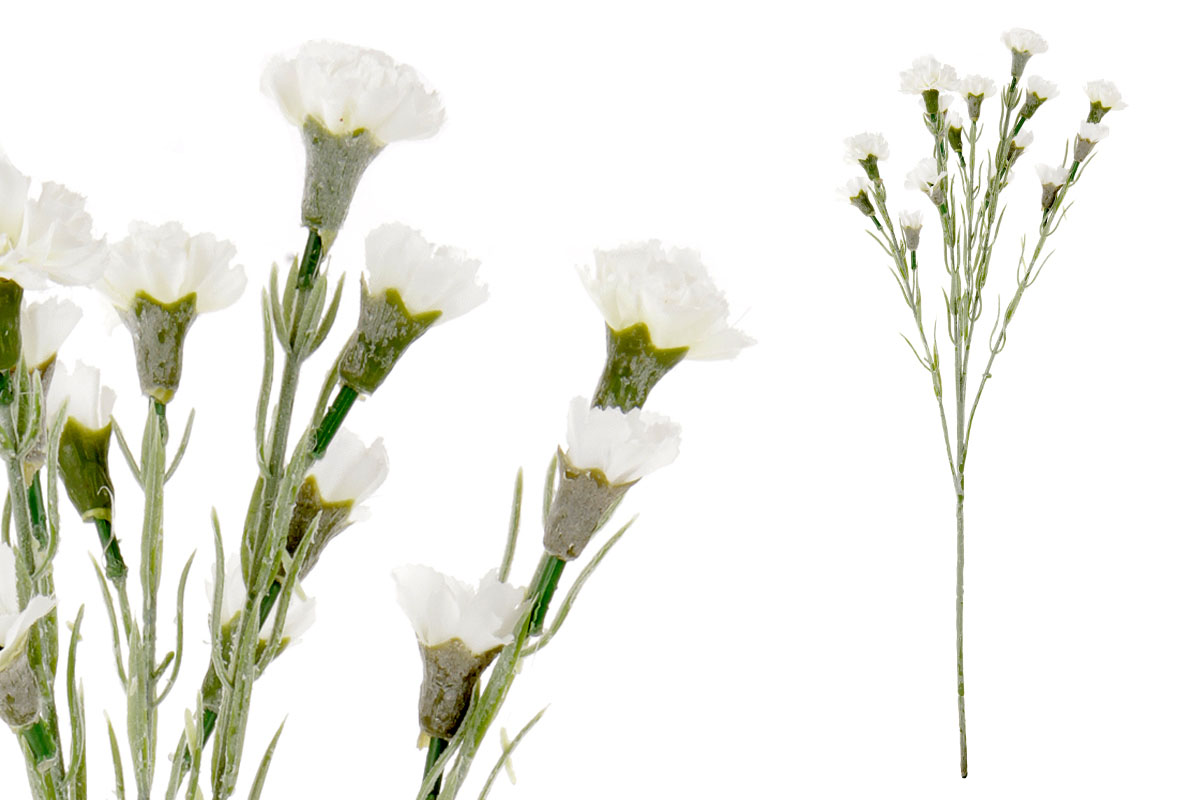 Umělá květina, mini karafiát, barva bílá