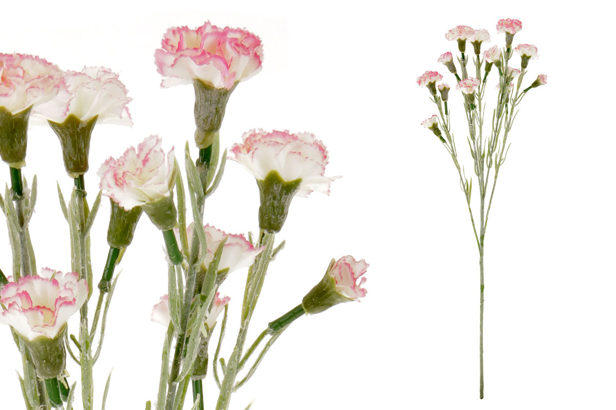 Umělá květina, mini karafiát, barva bílo-růžová