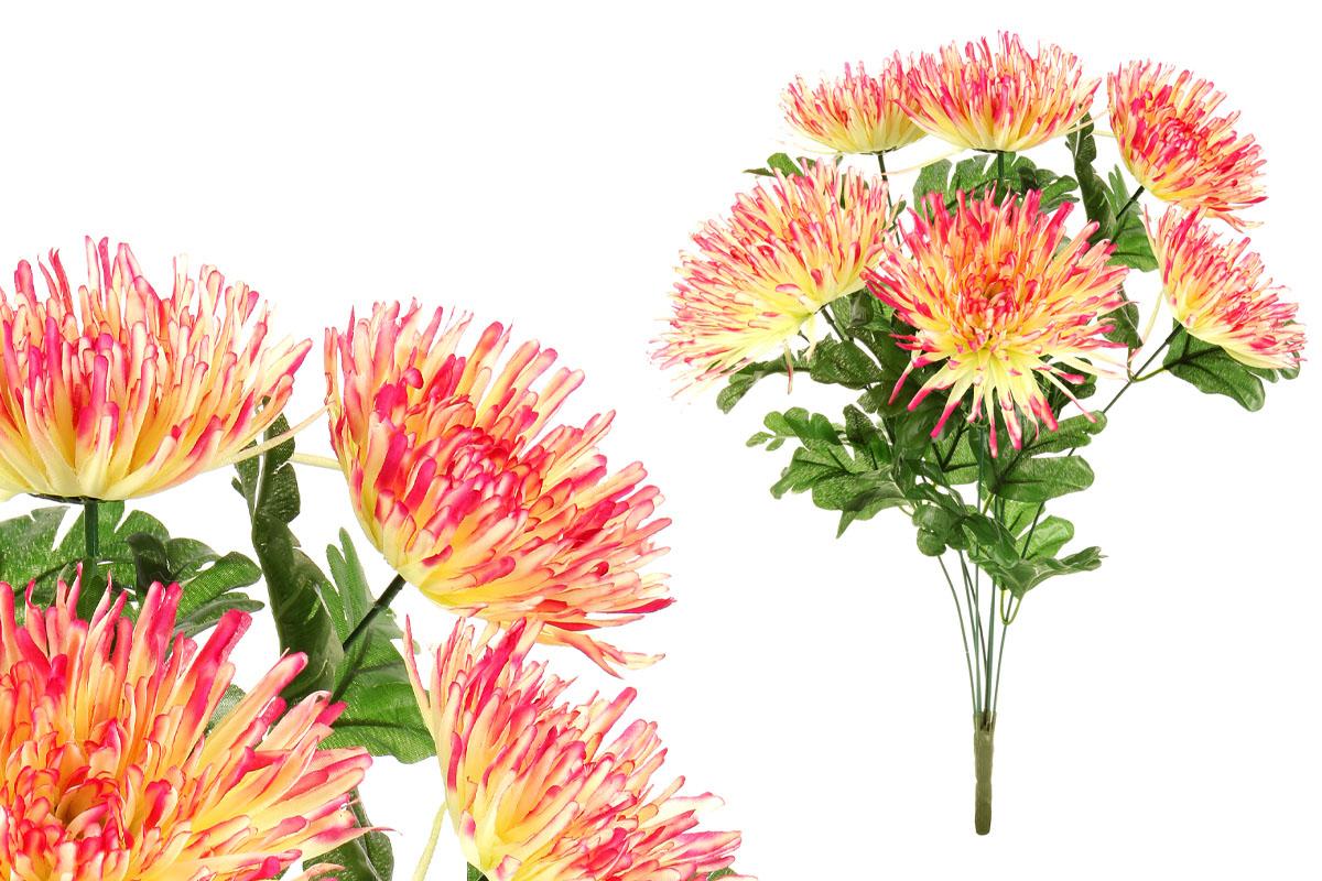 Chryzantéma puget, barva růžovo-žlutá  umělá květina.