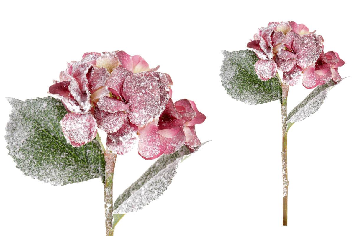 Umělá květina - Hortenzie, barva purpurová ojíněná