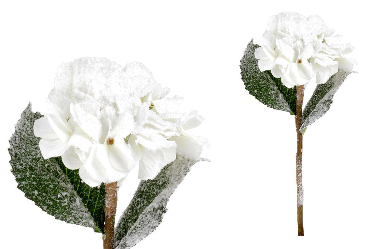 Umělá květina - Hortenzie, barva krémová  ojíněná