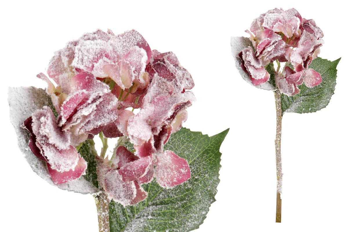 Umělá květina - Hortenzie, barva starorůžová ojíněná