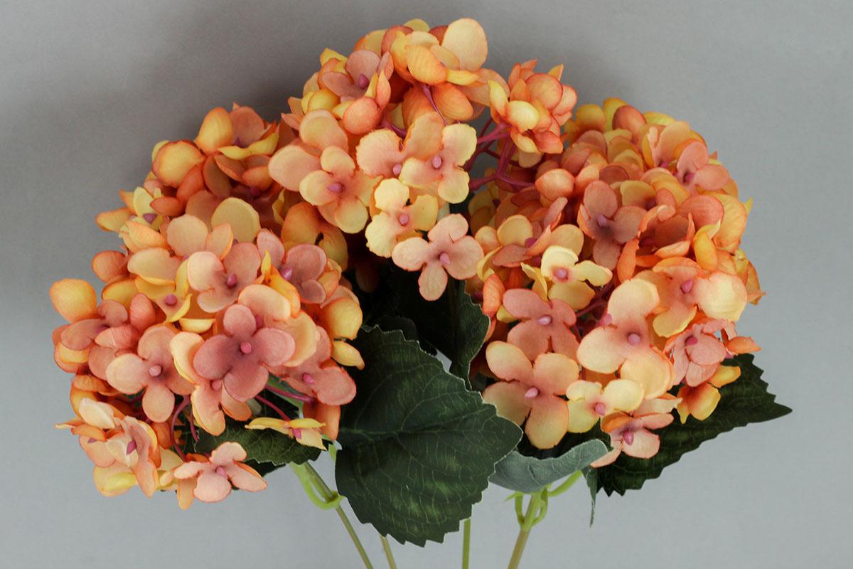 Hortenzia, umelý kvet, farba oranžová