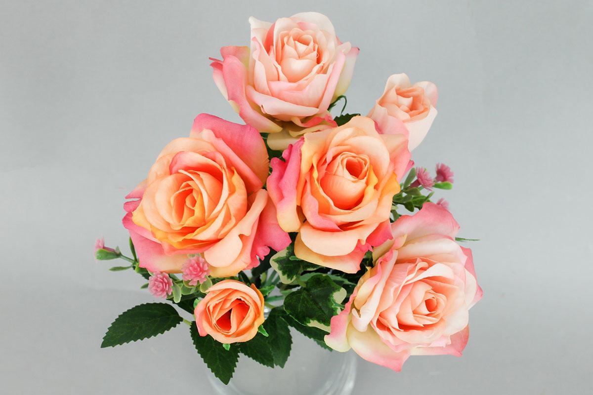 Růže puget, umělá květina, barva meruňková