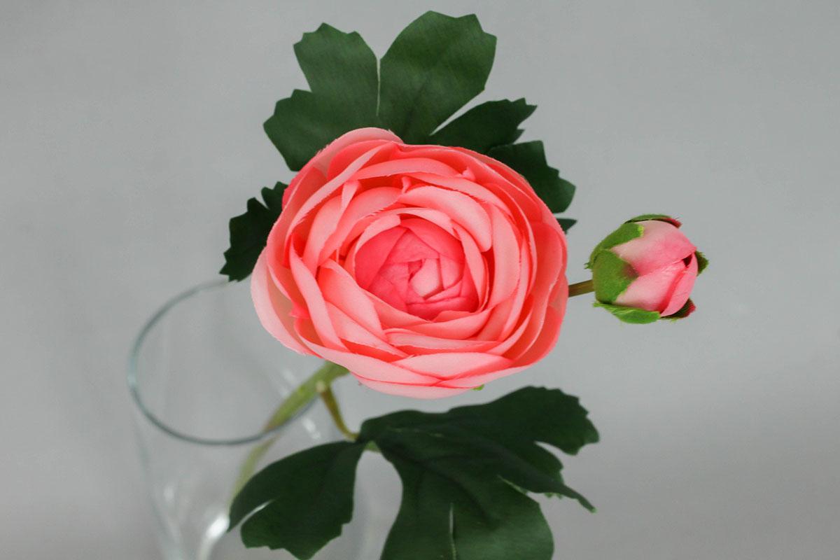 Pryskyřník, umělá květina, barva růžová