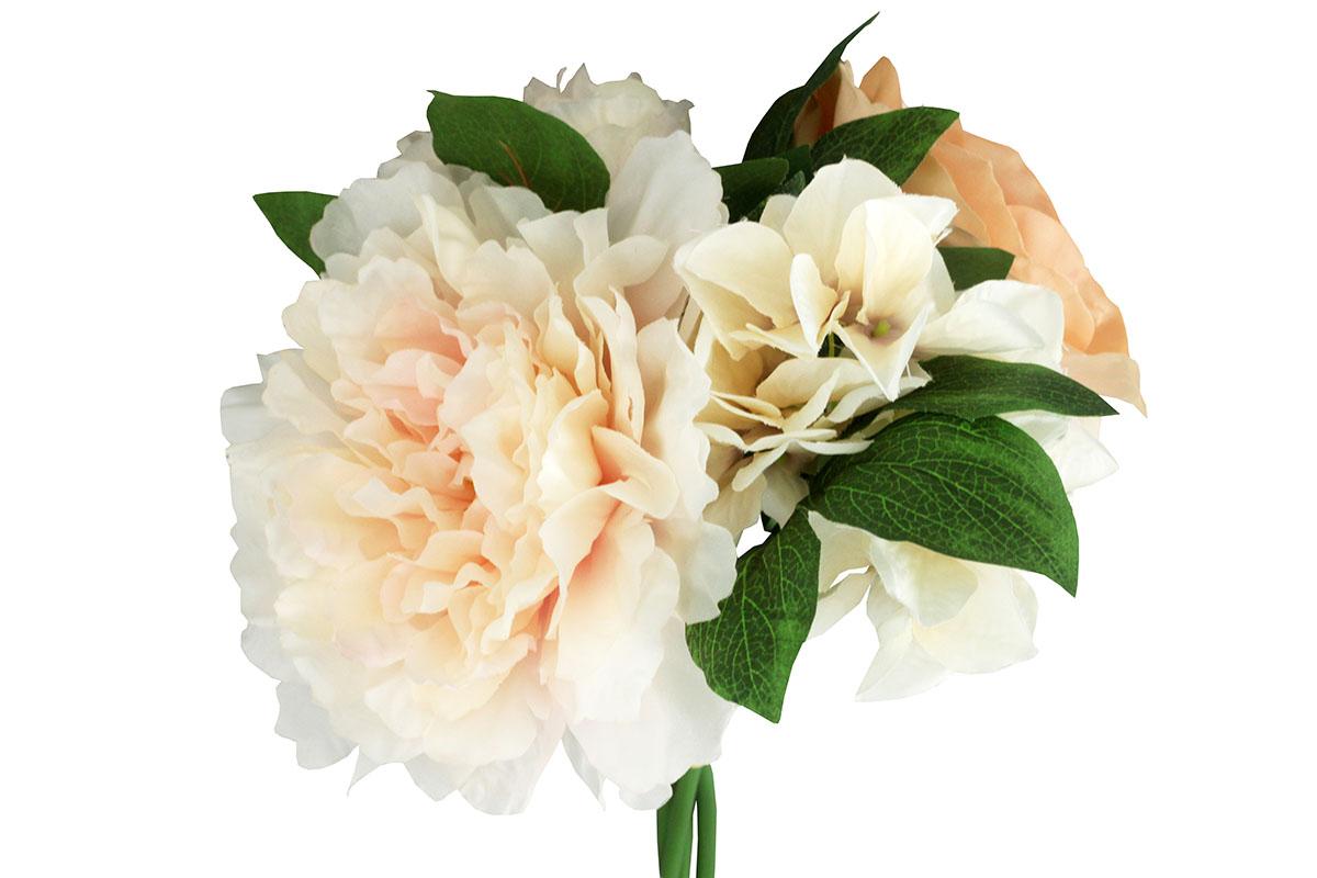 Kytica ruží a pivónií, farba smetanová