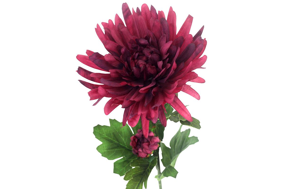 Umělá květina -  chryzantéma, barva tmavě filová