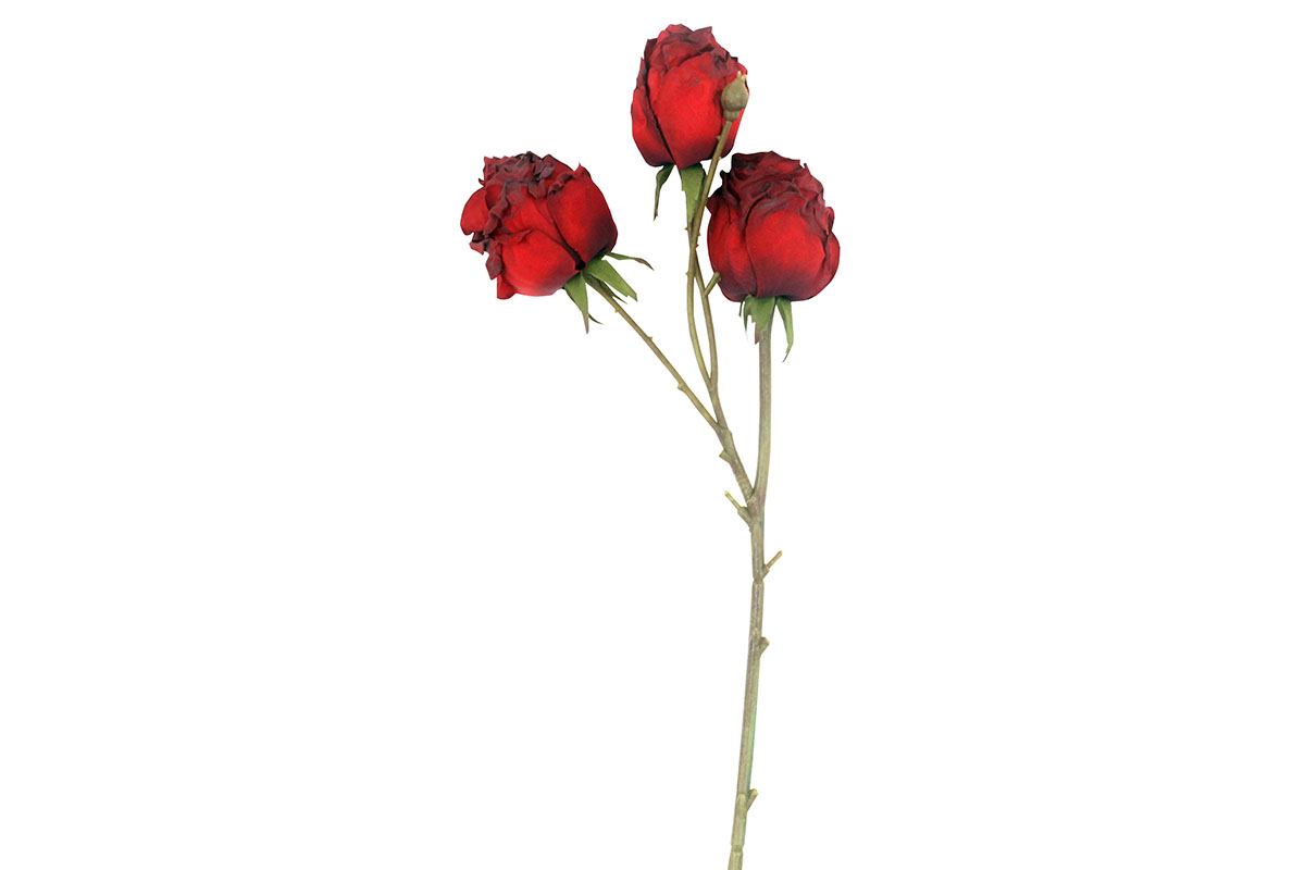 Umělá květina - vzhled suché růže, barva červená