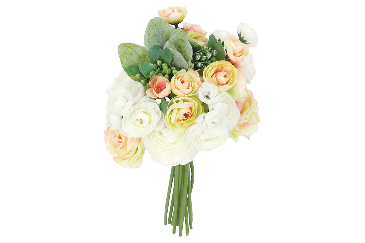 Umělá květina - Ranunkulus, barva bílo-žluto-růžová