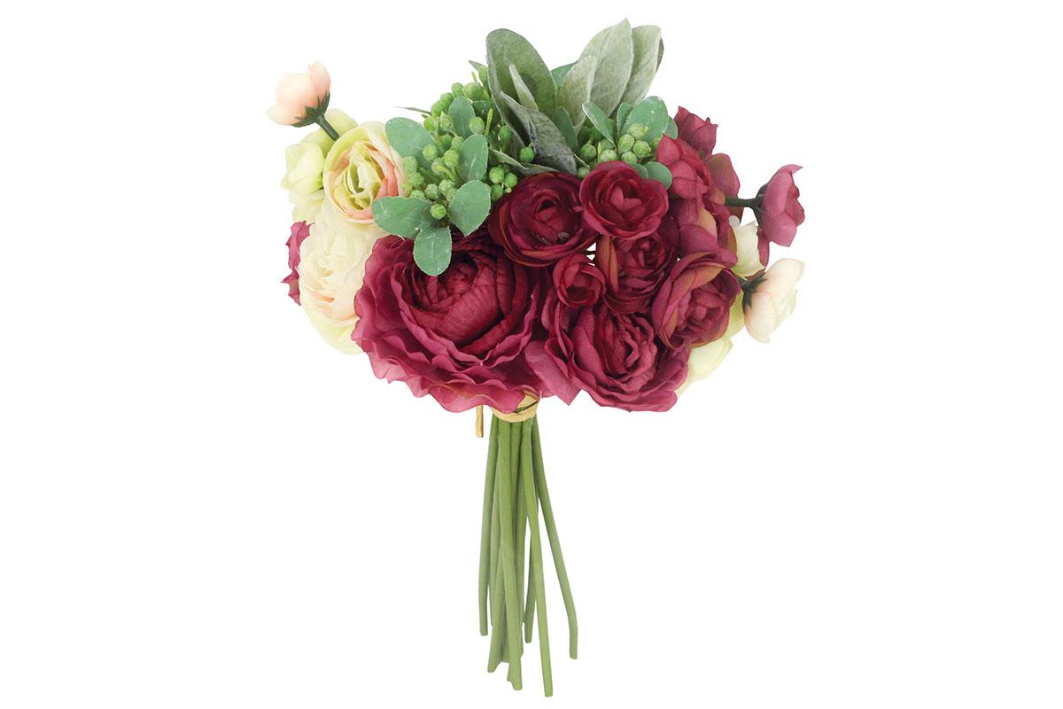 Umělá květina - Ranunkulus, barva vínová