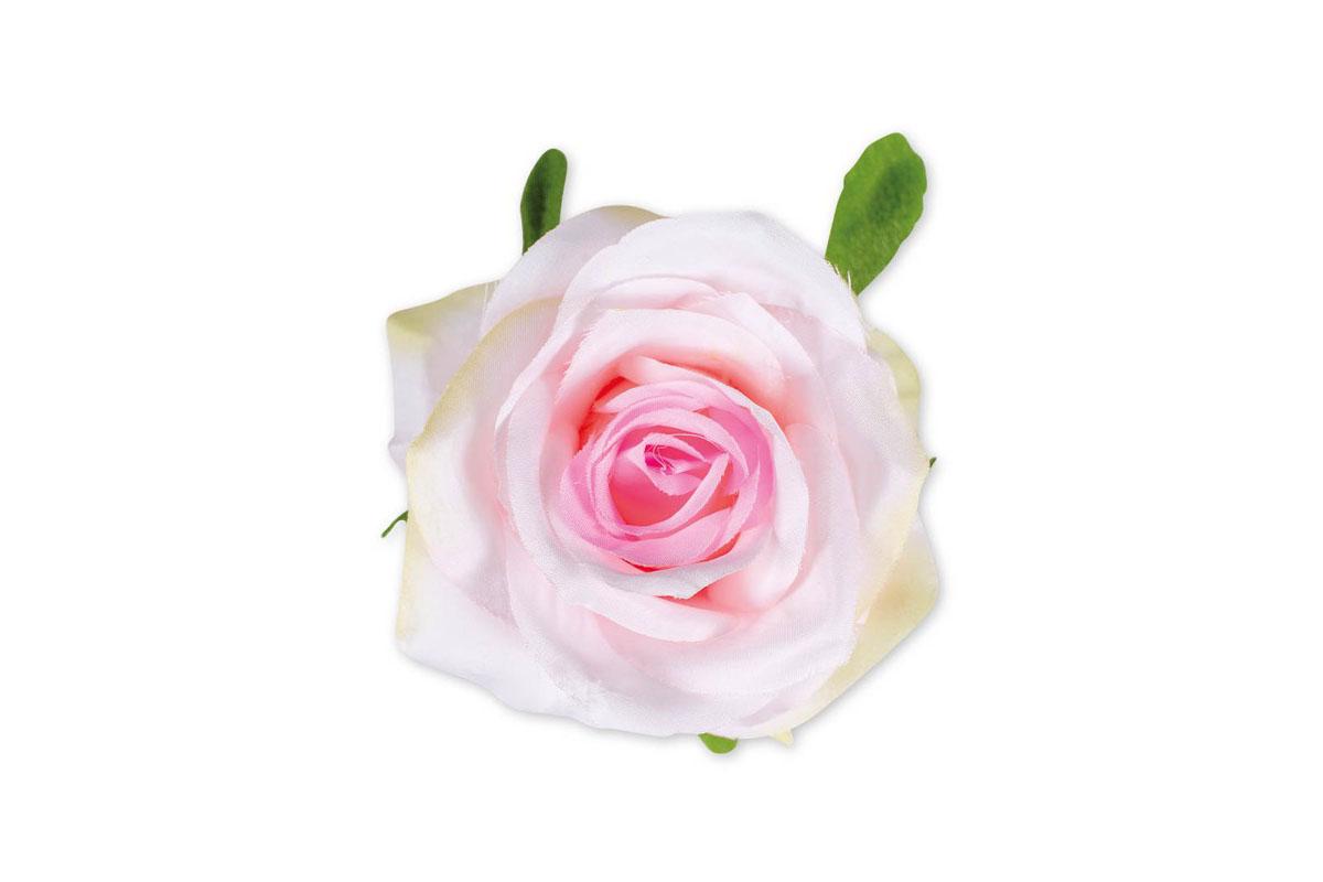 Květina vazbová, umělá růže, barva světle růžová, cena za balení 12 kusů