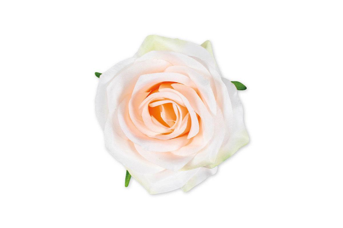 Květina vazbová, umělá růže, barva bílo-růžová, cena za balení 12 kusů