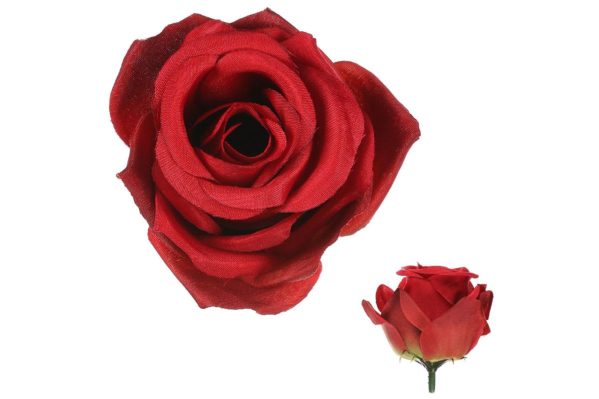 Květina vazbová, umělá růže, barva červená, cena za balení 12 kusů