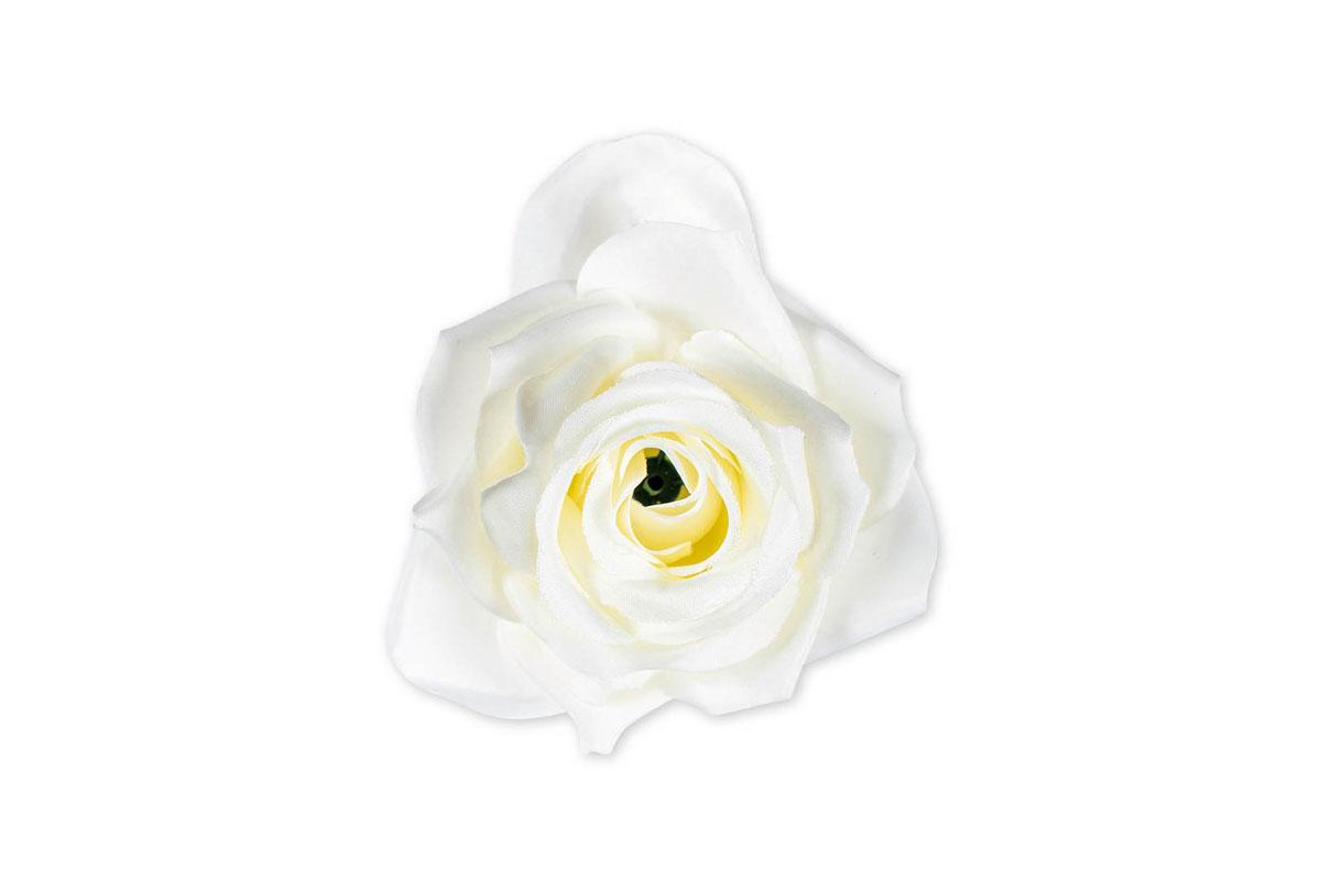 Květina vazbová, umělá růže, barva bílá, cena za balení 12 kusů